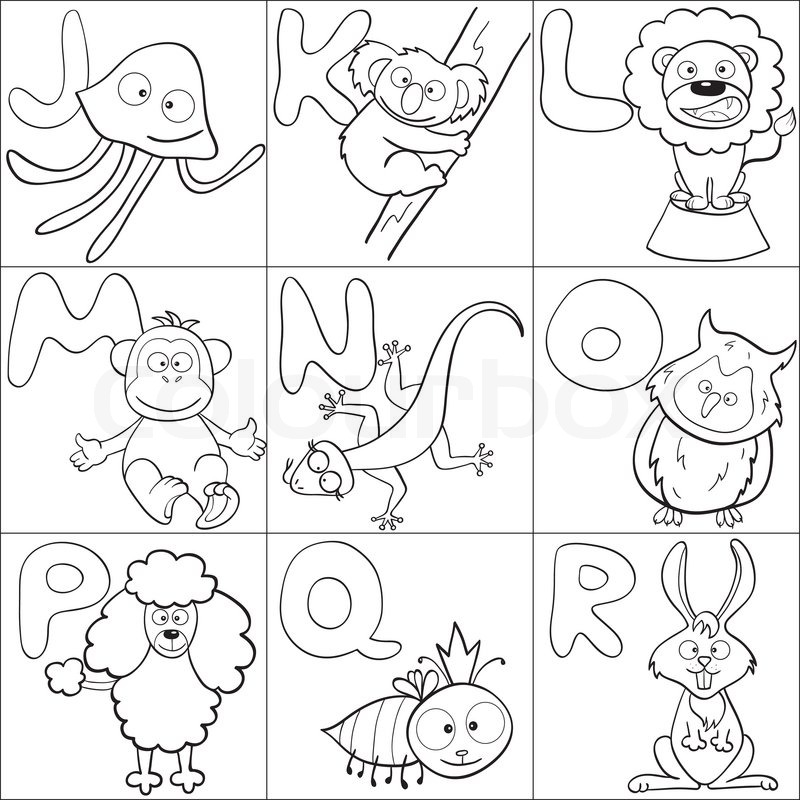 Coloring book with alphabet stock vector colourbox