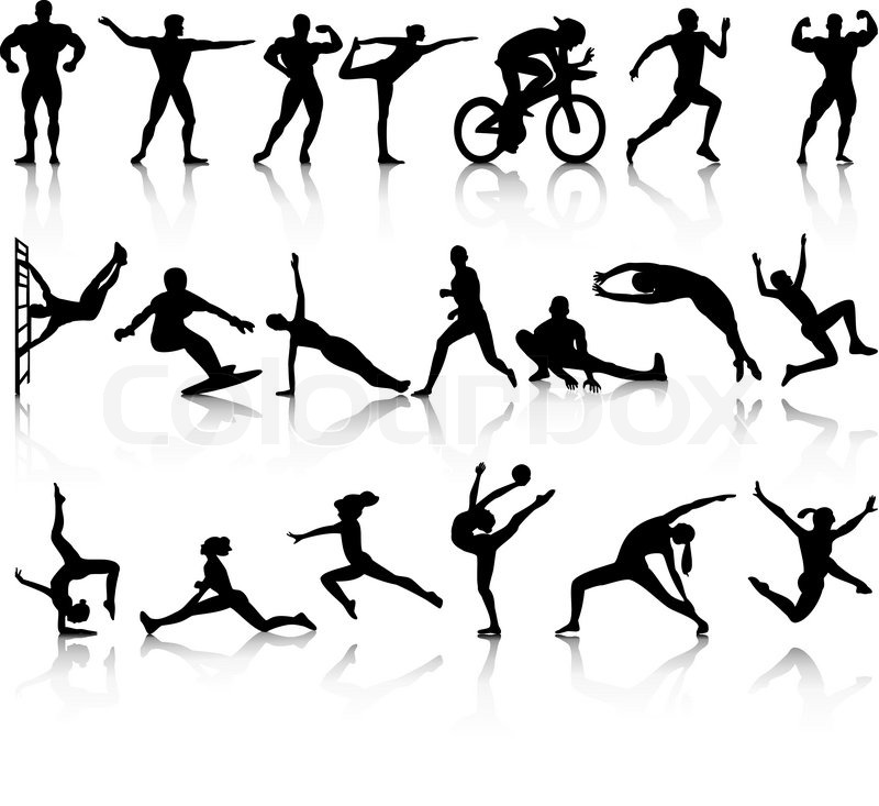 silhouettes of athletes | stock vector | colourbox  colourbox