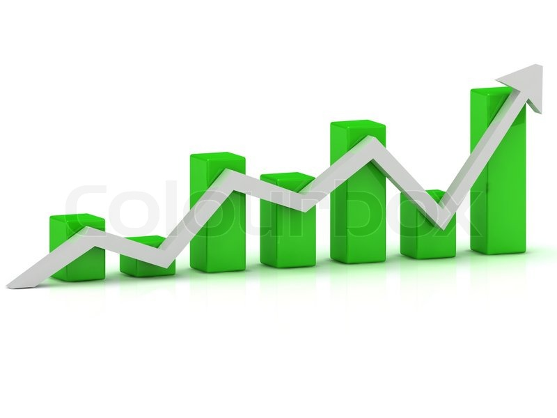 Business growth chart of the green bars and the white ...