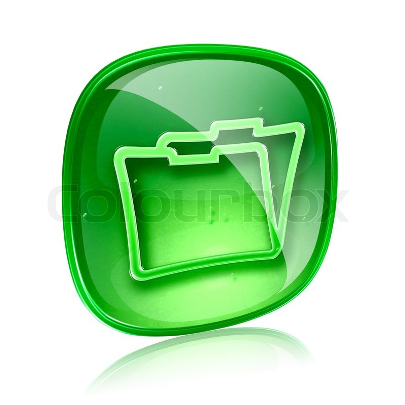 Stock image of 'Folder icon green glass, isolated on white background'