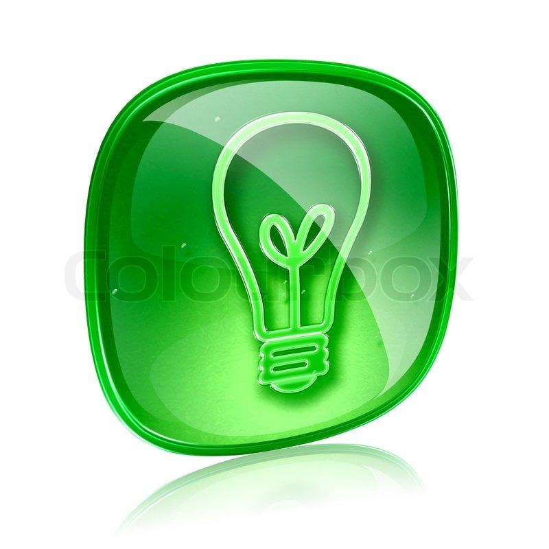 Glühbirne Symbol grün Glas, isoliert auf weißem Hintergrund ...