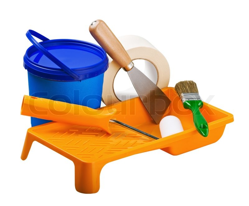 Plastic cans of paint and painting tools stock photo colourbox - Painting tool avis ...