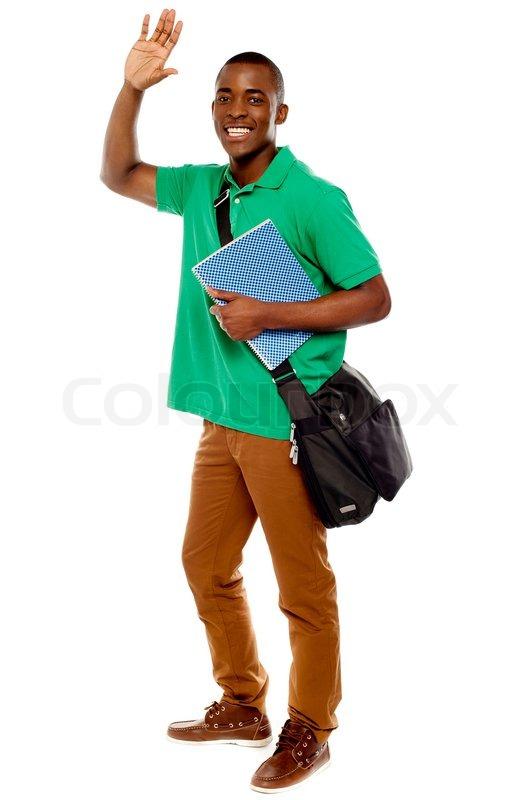 Cheerful Student Waving His Hands Enjoying Himself