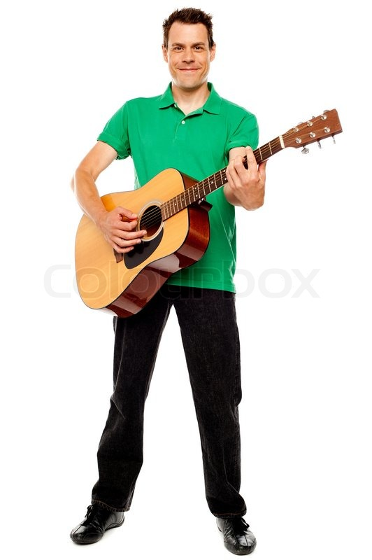 Young Caucasian Guitarist Playing Tracks