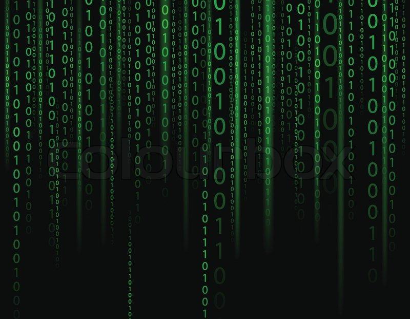 Stream On Binary Codes On Black Background Stock Vector