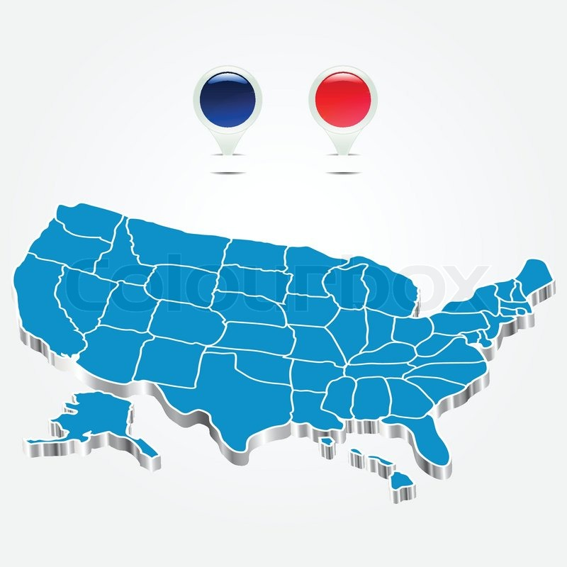 The electoral districts pined on 3d usa map stock vector colourbox sciox Images