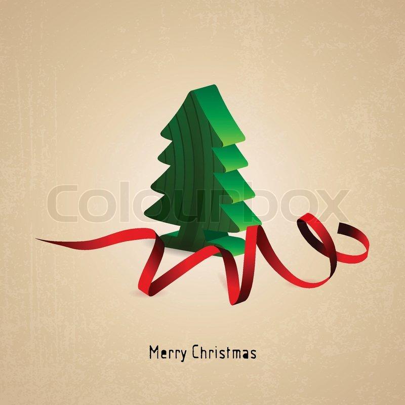 weihnachtskarte mit weihnachtsbaum holz und roter schleife. Black Bedroom Furniture Sets. Home Design Ideas