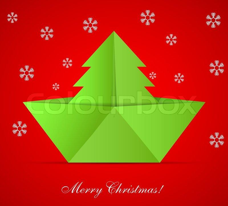 vektor konzept der weihnachtsbaum und origami boot eps 10. Black Bedroom Furniture Sets. Home Design Ideas