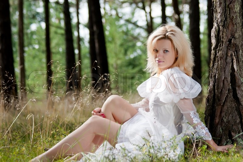 Beautiful Woman In The Forest  Stock Photo  Colourbox-3711