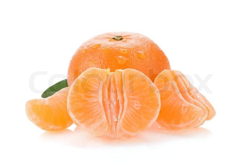 Tangerine orange fruit and slices isolated on white | Stock Photo ...