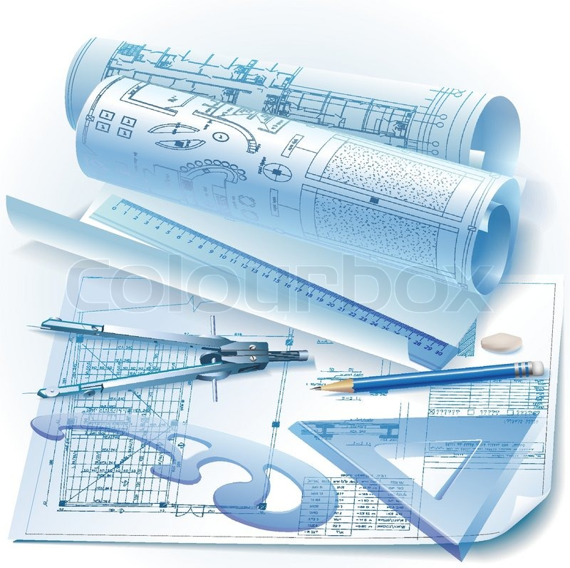architectural background with drawing tools and rolls of