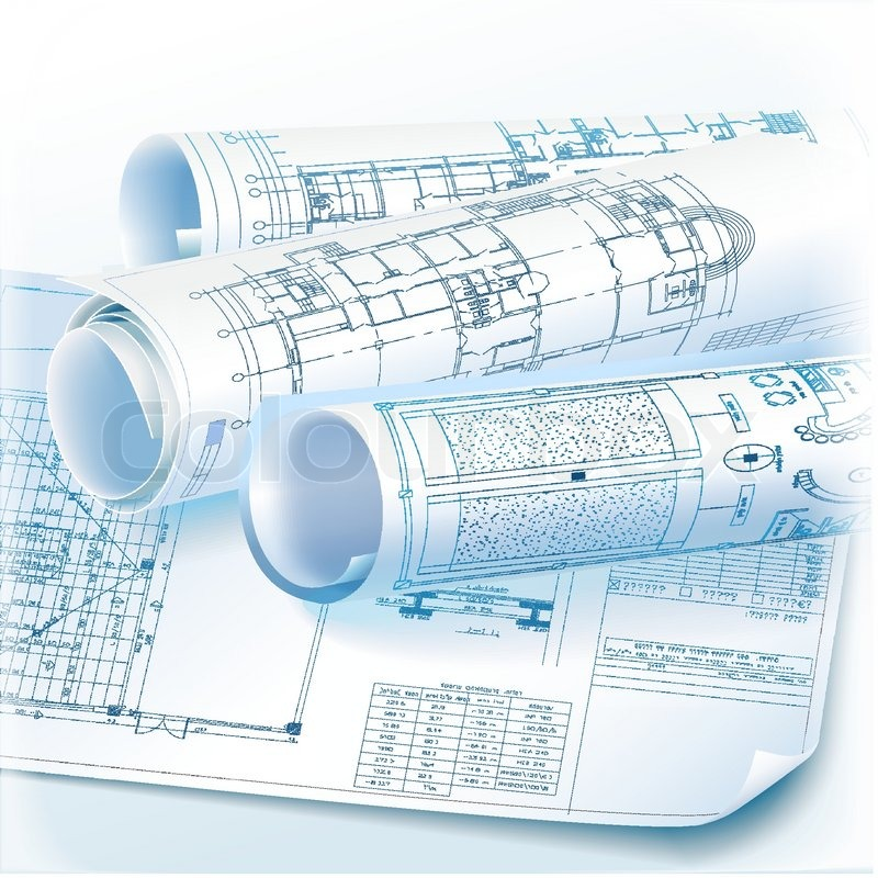 Architectural Background With Rolls Of Technical Drawings  Vector Clip