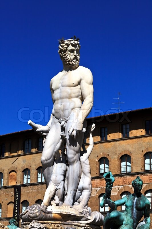 Statue Of Neptune In Founta In Florence Italy Stock