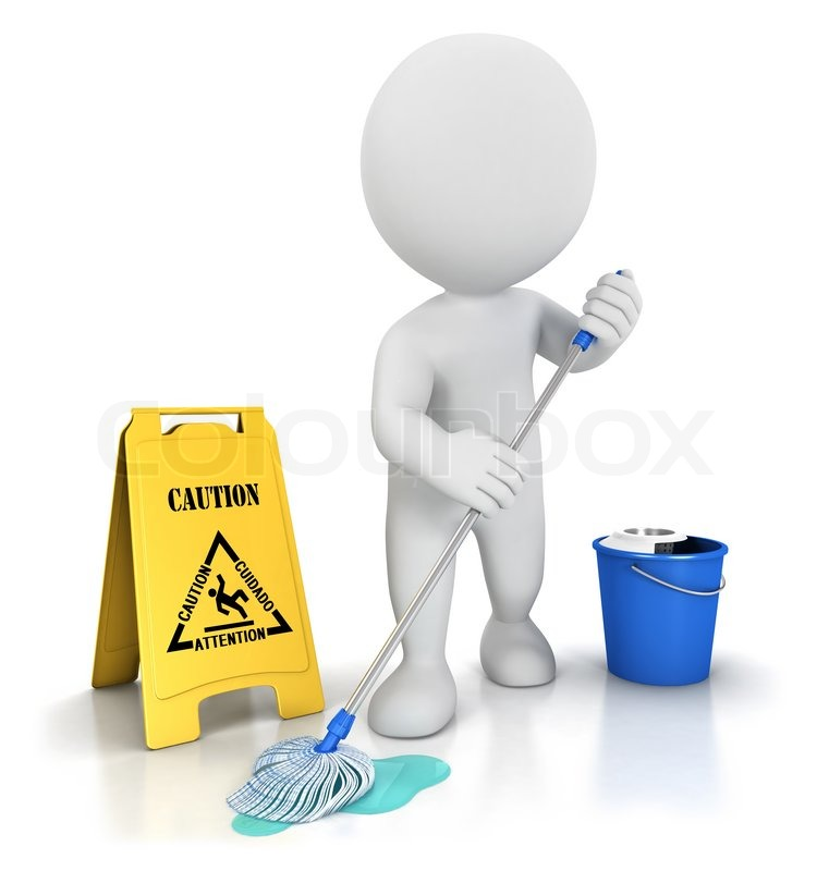 3d White People Cleaner With A Mop A Bucket And Warning Sign Isolated White Background 3d