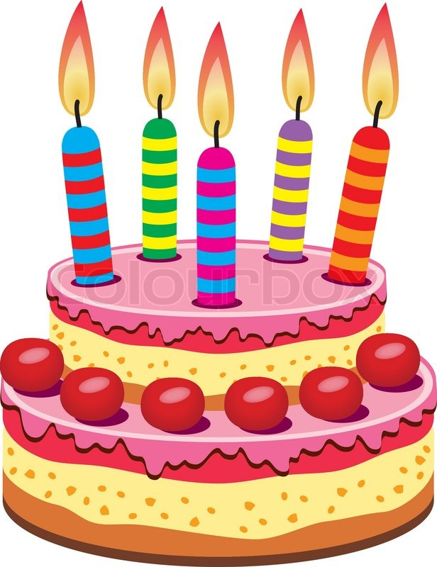 Vector birthday cake with burning candles Stock Vector Colourbox