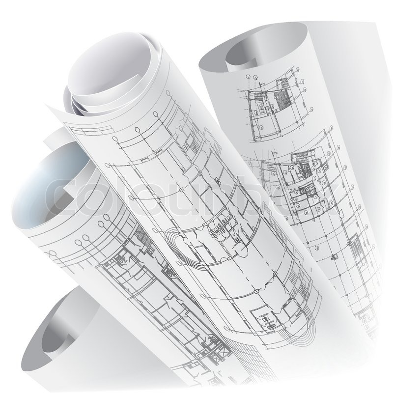 Architectural Background With Rolls Of Technical Drawings