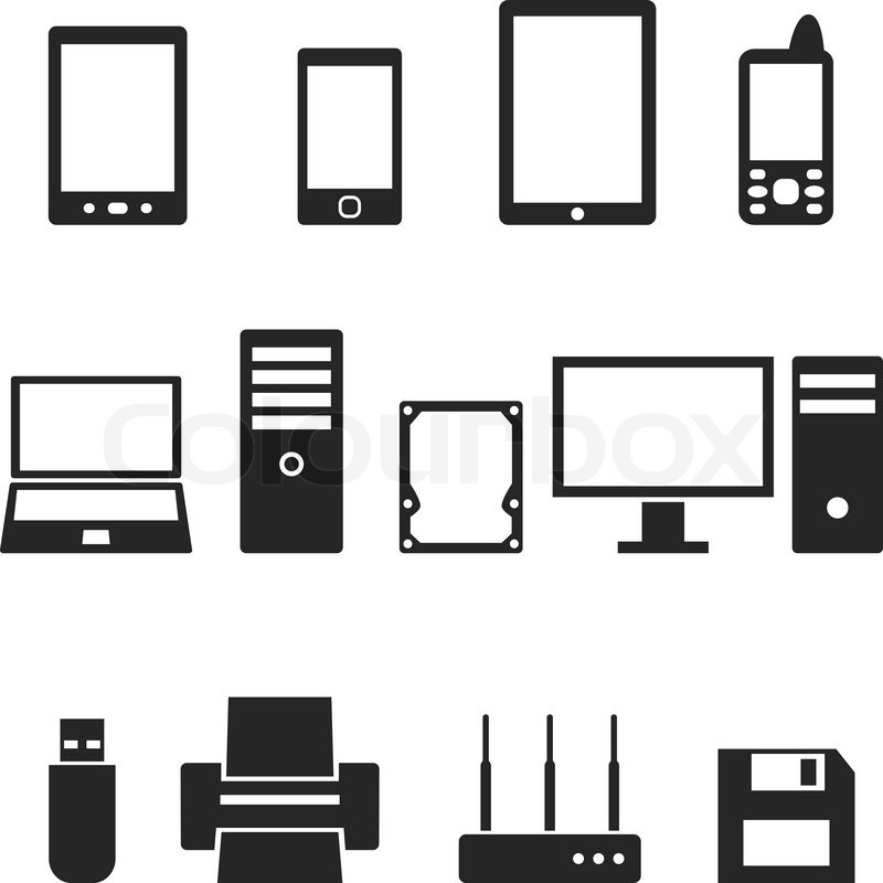 icons of computer hardware and gadgets in the vector stock vector rh colourbox com computer arrow icon vector computer arrow icon vector