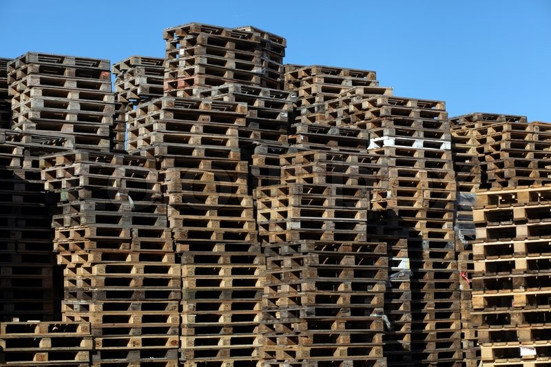 Stack Of Wooden Eur Pallets Stock Photo Colourbox