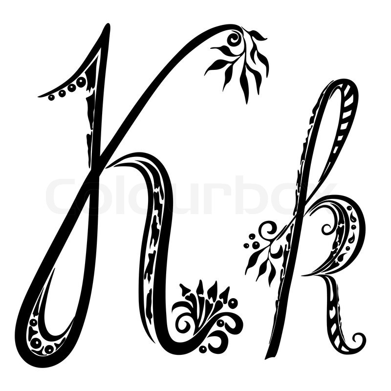 Letter K kin the style of abstract floral pattern on a white