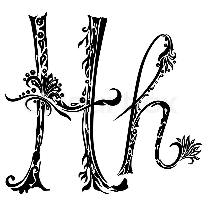 Letter H Hin The Style Of Abstract Floral Pattern On A White Background