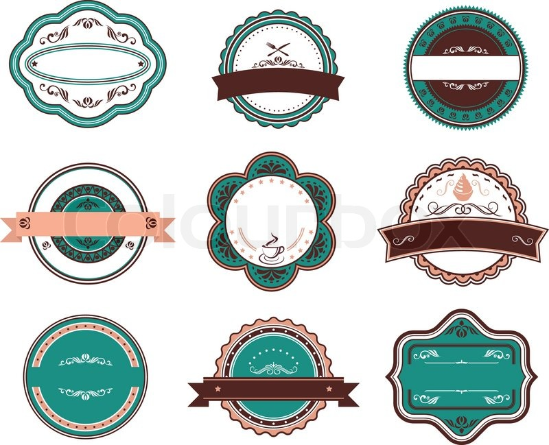 Retro food labels and emblems with embellishments stock vector colourbox