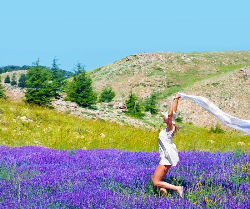 Beautiful Girl Dancing On Lavender Field, Cute Teen