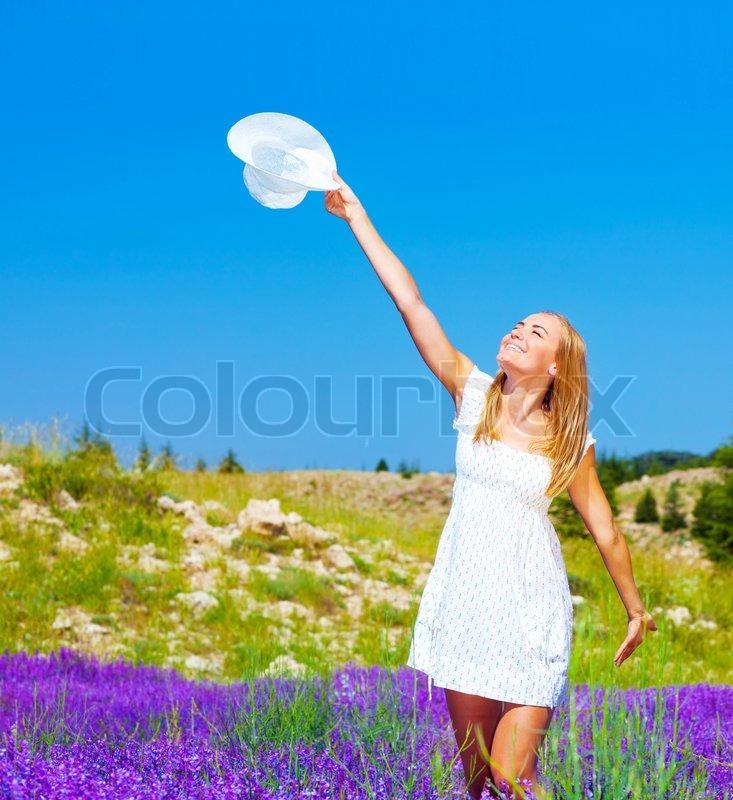 Happy Beautiful Woman Enjoying At Beach Stock Photo: Cute Girl Dancing On Lavender Field, Beautiful Happy Woman
