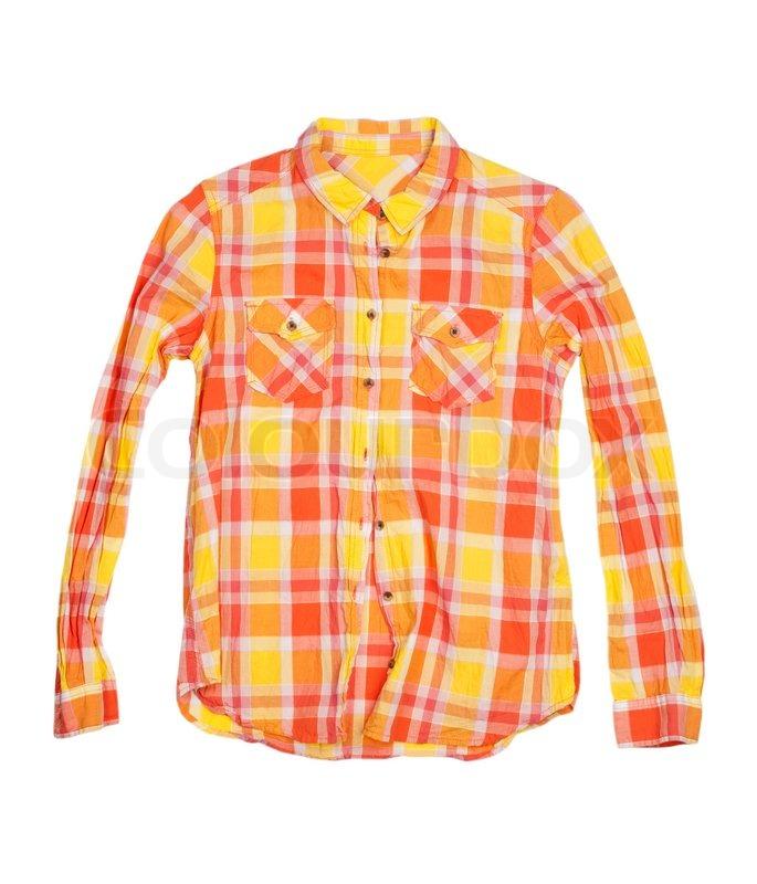 orange kariertes hemd isoliert auf wei em hintergrund. Black Bedroom Furniture Sets. Home Design Ideas