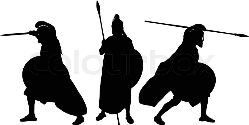 Silhouettes Of Ancient Warriors Vector Illustration