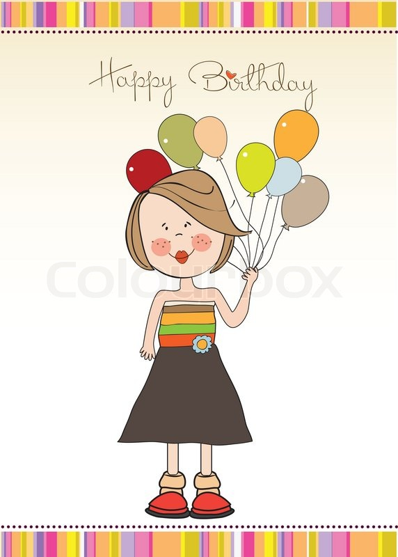 Funny Girl With Balloon Birthday