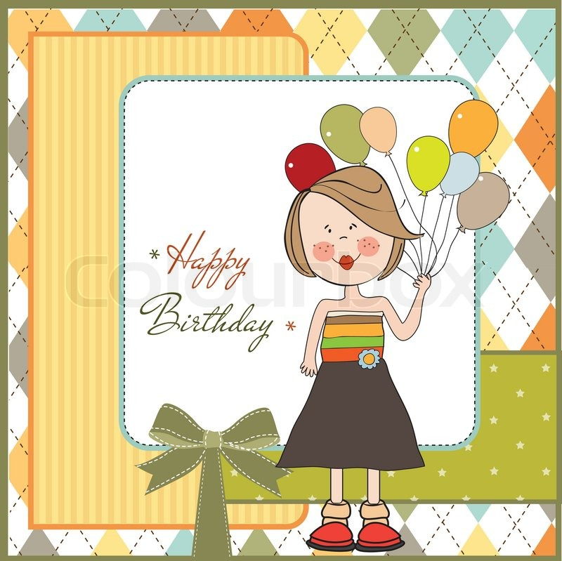 Funny girl with balloon birthday greeting card stock vector funny girl with balloon birthday greeting card vector bookmarktalkfo Image collections