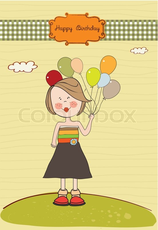 Funny Girl With Balloon Birthday Greeting Card Stock Vector