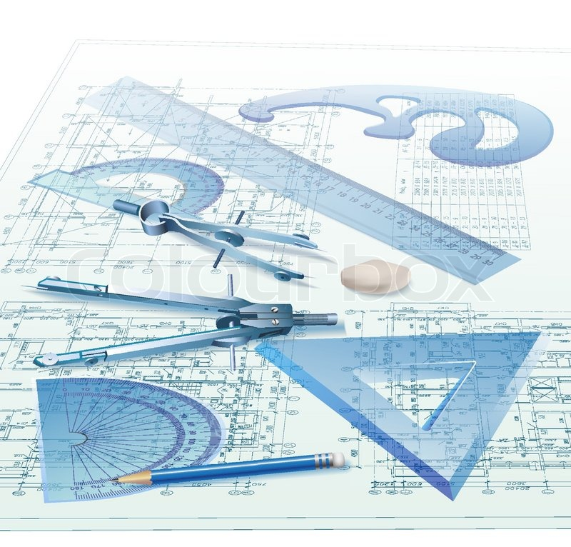 Architectural Background With Drawing Tools And Technical Drawings Vector Clip Art