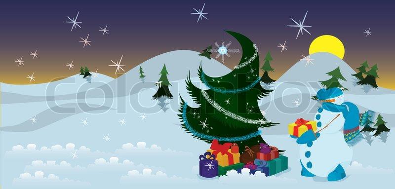 schneemann mit geschenken in der n he der weihnachtsbaum. Black Bedroom Furniture Sets. Home Design Ideas