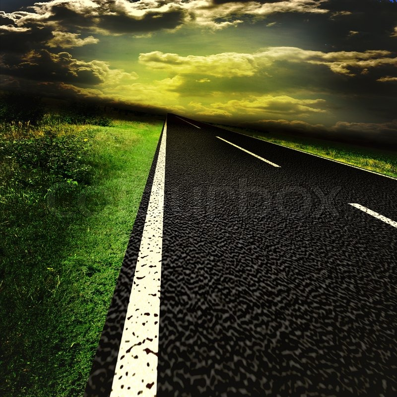 Asphalt road and red bloody blurred sky with sun, stock photo