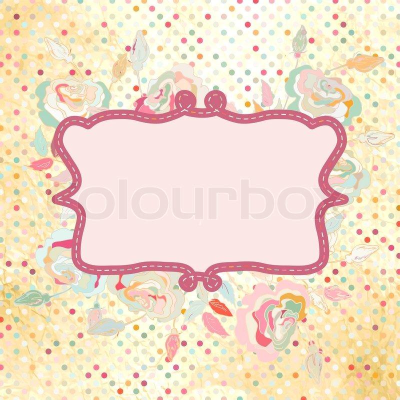 Vintage polka dot frame with rose flower EPS 8 | Stock Vector ...