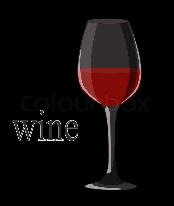 Very Big elegant red wine glass on black background. Vector  KA79