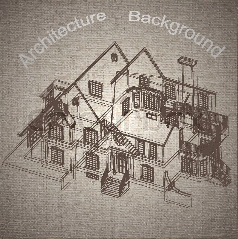 Vintage Architectural Background With A 3d Building Model