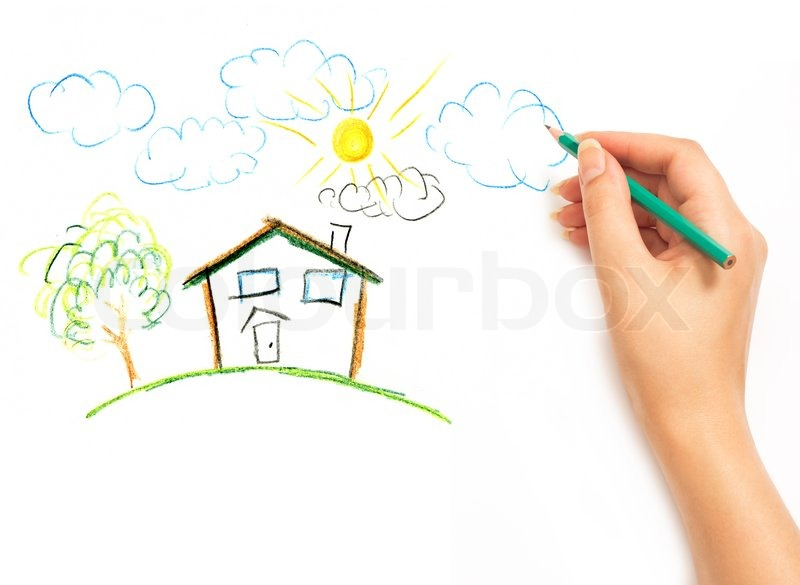 woman s hand drawing the dream home stock photo colourbox
