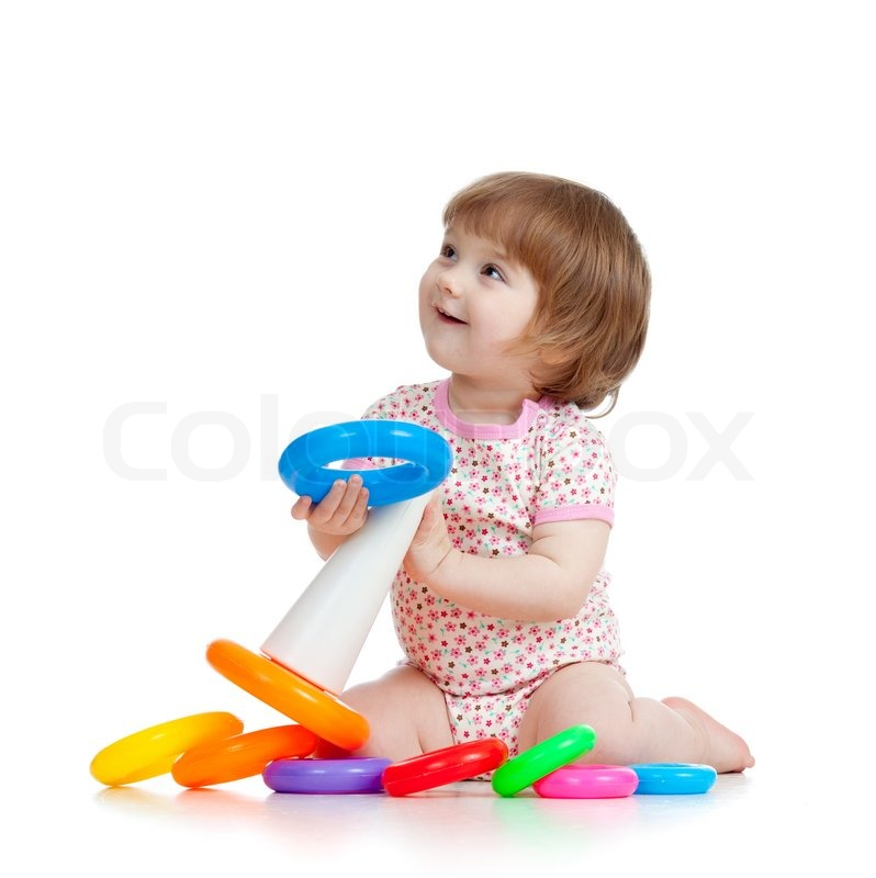 Pretty little child or kid playing with color toy | Stock ...