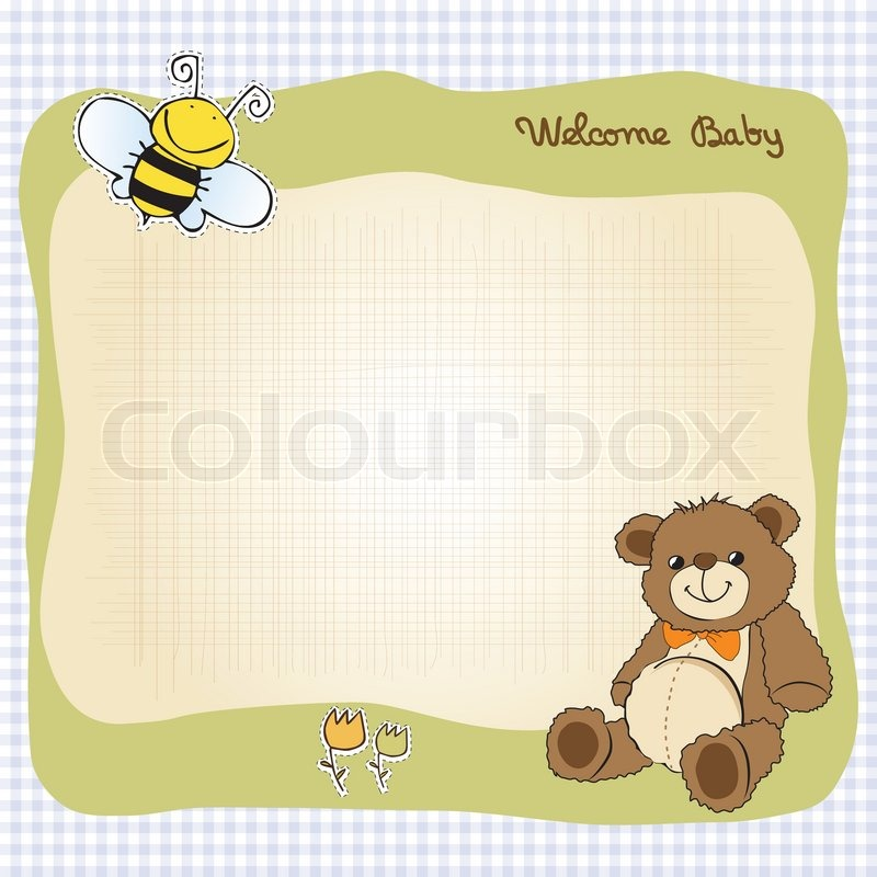 Baby Shower Wiki: Baby Shower Card With Cute Teddy Bear Toy