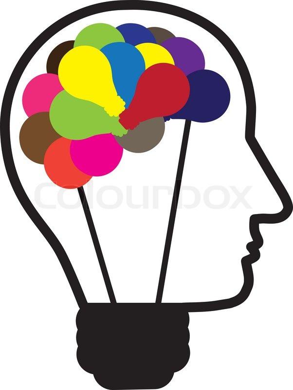 Illustration of idea light bulb as human head creating ideas shown ...