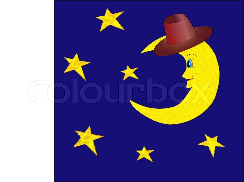 funny half moon in hat with bright stars on night blue sky rh colourbox com starry night sky vector night sky vector free