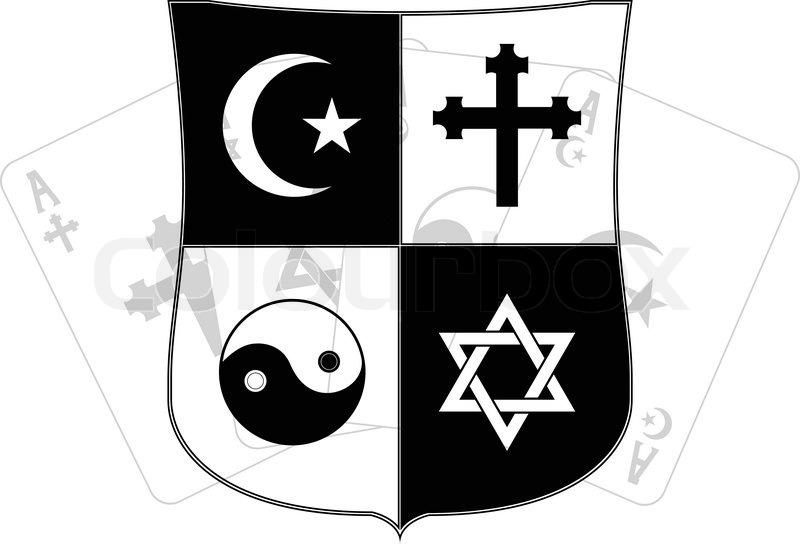 Stencil Of Shield And Religious Symbols Vector Illustration Stock