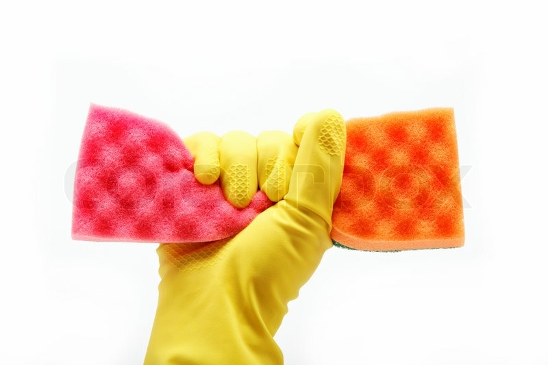 Hand with rubber glove and cleaning sponge on white background, stock photo