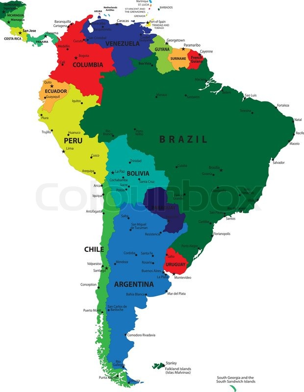 South america political map stock vector colourbox sciox Images