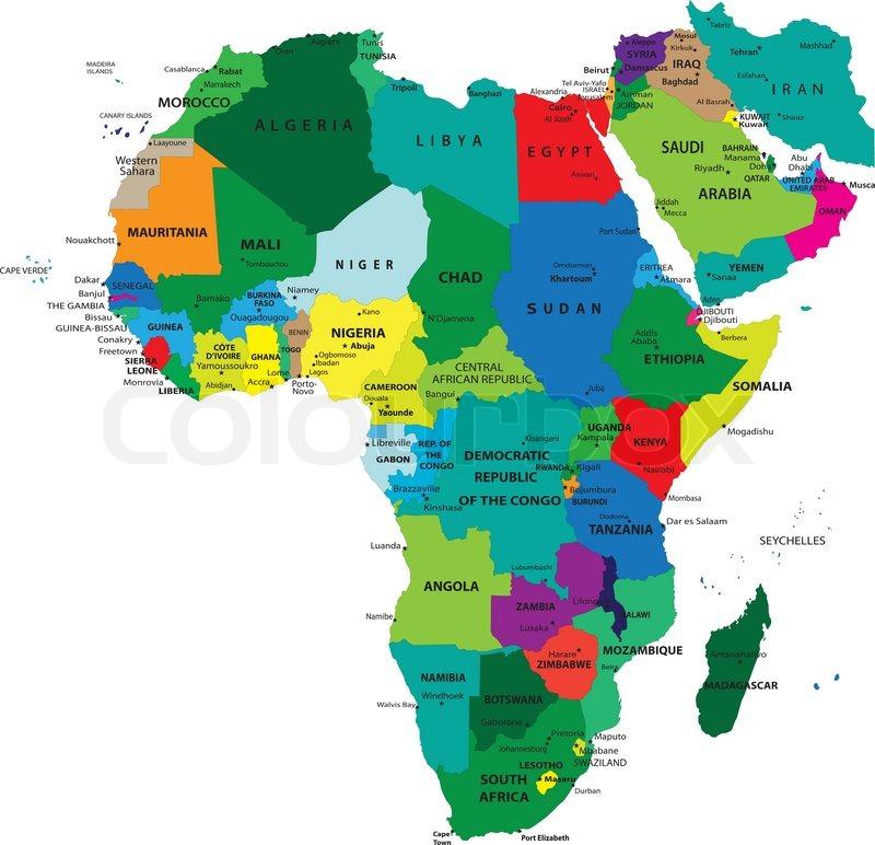 Africa political map Stock Vector Colourbox