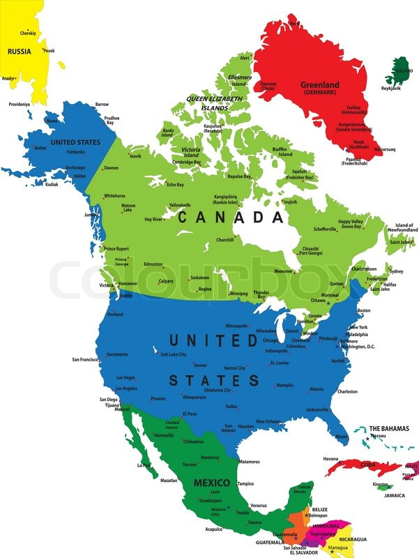 photograph relating to Printable Map of North America With Labels titled North The united states political map Inventory vector Colourbox