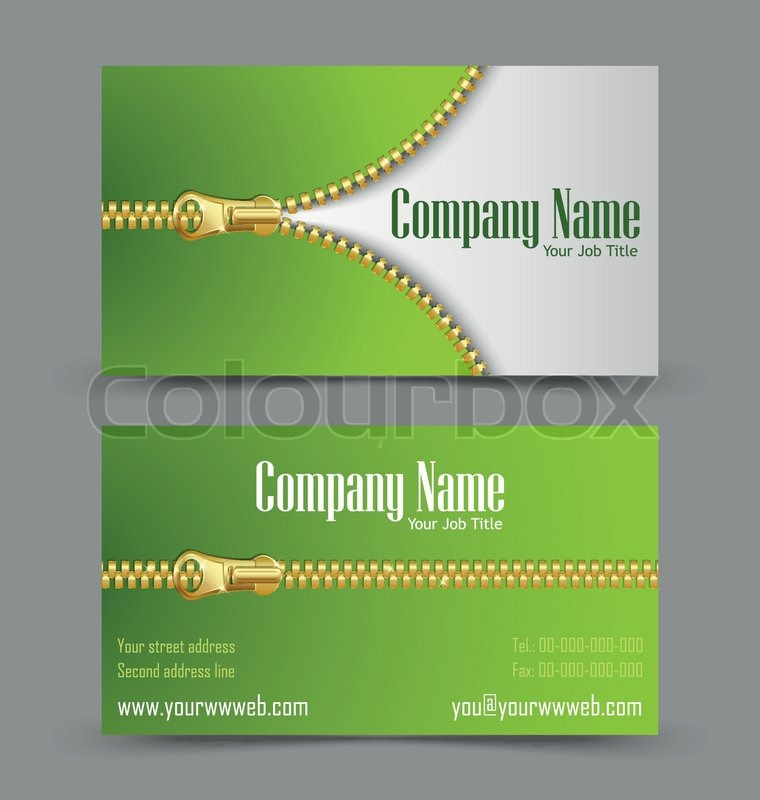 Zipper theme business card | Stock Vector | Colourbox