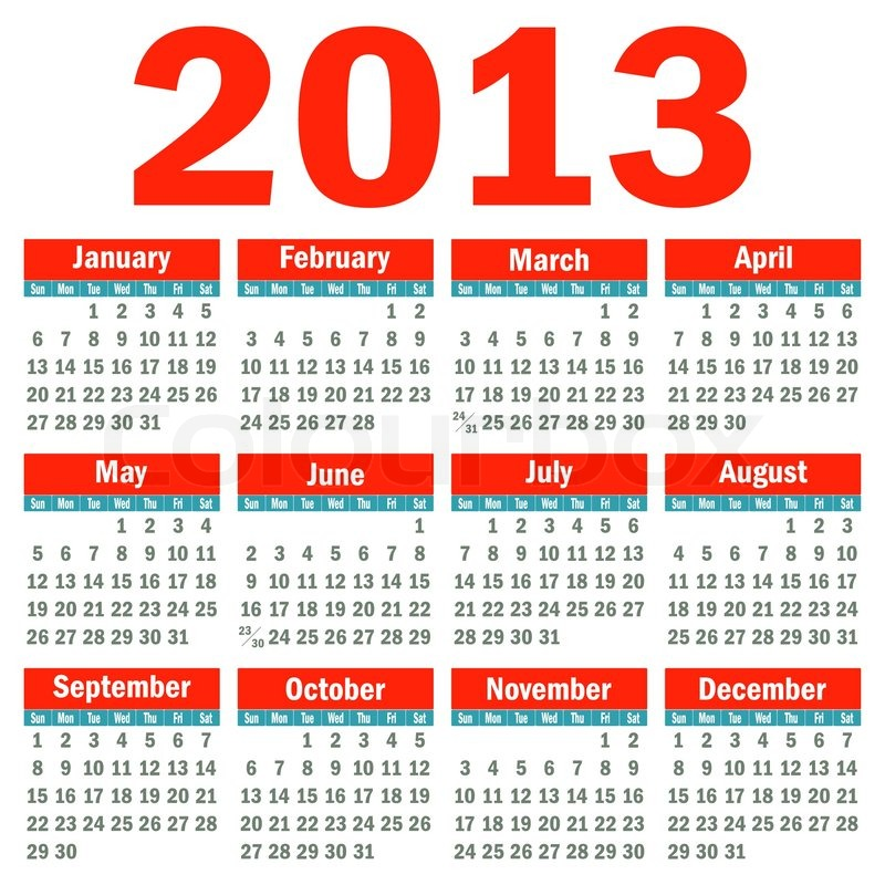 Calendario Vectorizado.Calendario 2013 Ilustraciones Vectorialesclip Vectorizado Libre